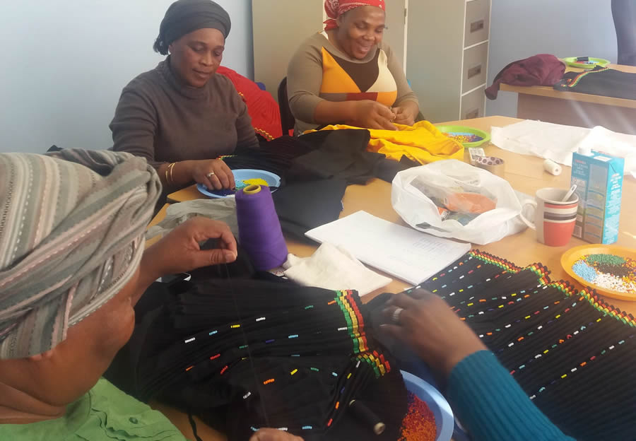 Beading, weaving and sewing